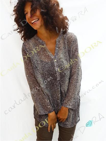 tunique femme fluide beige motif python, top femme tunique voile fluide a la mode