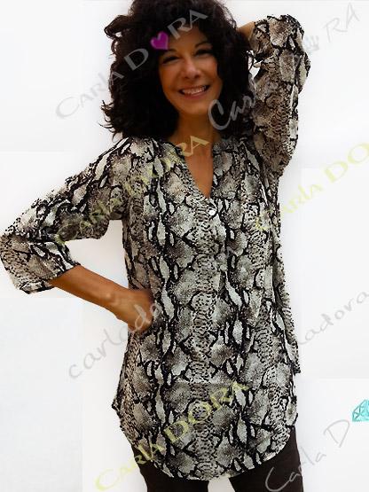 tunique femme noire et blanc casse python, top femme tunique voile fluide a la mode