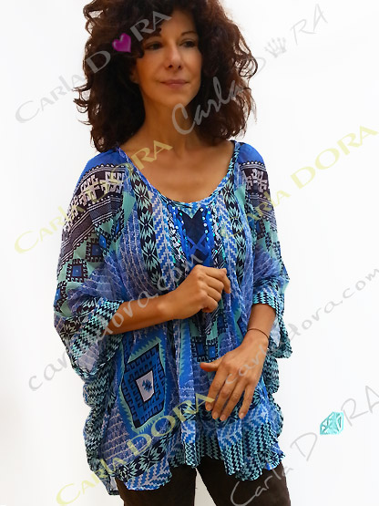 tunique voile transparent camaieu de bleu, top femme tunique plage a la mode