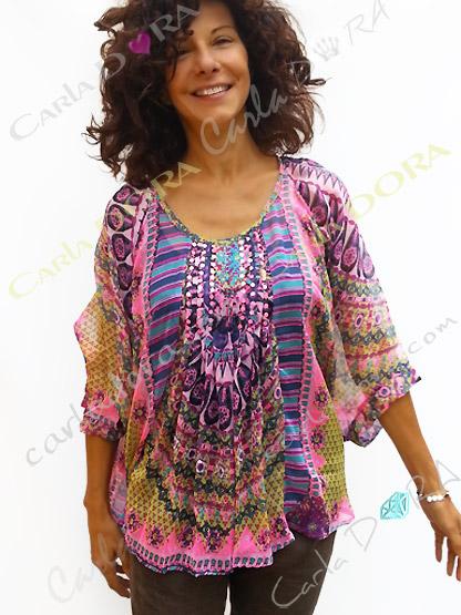 tunique voile transparent  imprime rose et violet, top femme tunique plage a la mode