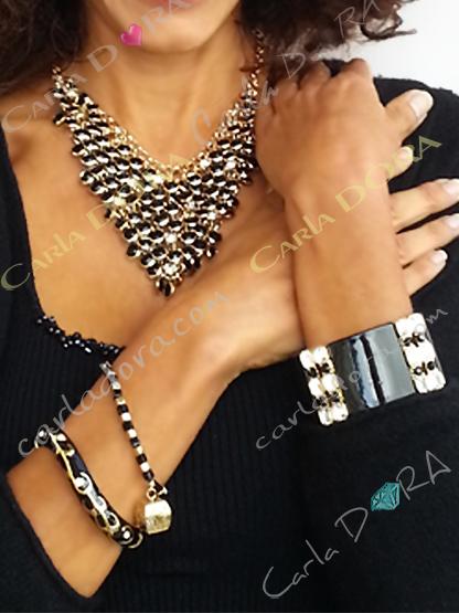 bijoux fantaisie collier pampilles noires or et strass, collier fantaisie femme couleur noir et or