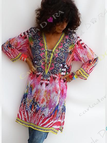 tunique femme droite voile hippie chic multicolore, tunique femme col v tunique a la mode