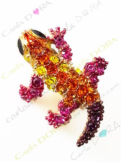 broche bebe lezard cristal multicolre mini broche, mini broche bijou lezard