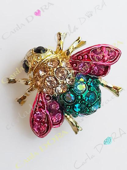 broche petite abeille cristal multicolore, mini broche bijou abeille