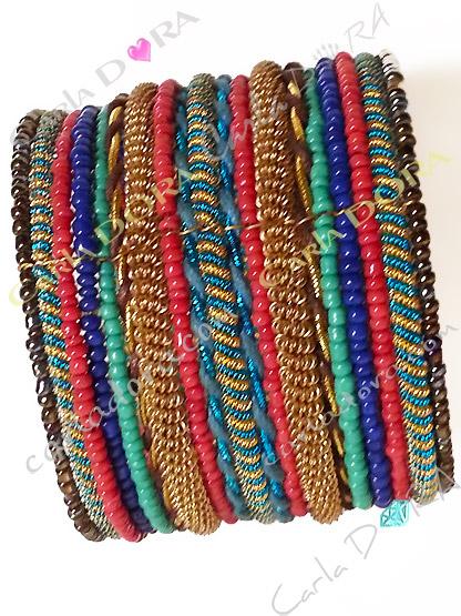 bracelet manchette femme hippie chic vert bleu or et brun cuivre, bracelet tendance femme