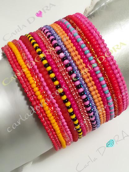 bracelet bresilien corail fushia fantaisie femme hippie chic, bracelet fantaisie femme