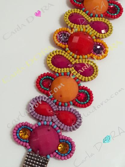 bracelet bresilien orange rouge jaune violet, bijoux bracelet fantaisie femme