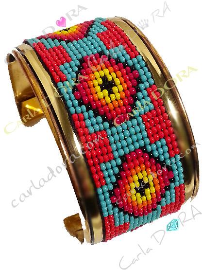 bracelet manchette graphique mexico latino multicolore, manchette bracelet ouvert flamboyant tendance femme
