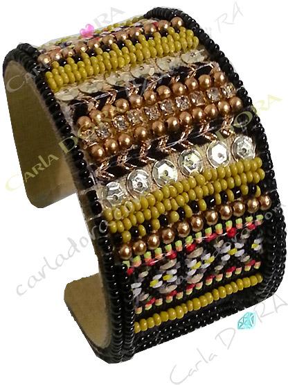 bracelet manchette jaune tissage multi matieres , manchette bracelet ouvert jaune