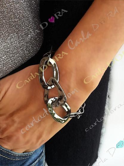bracelet gourmette anneaux argent metal noirci