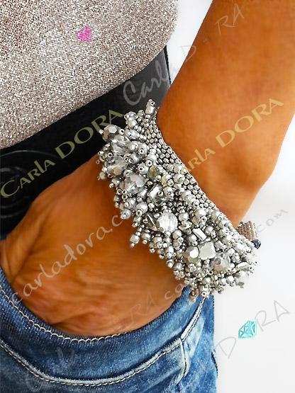 bracelet fantaisie femme pampilles argent - bracelet femme bijou hippie chic