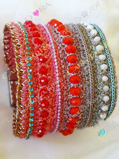 bracelet femme manchette maille perles cristal