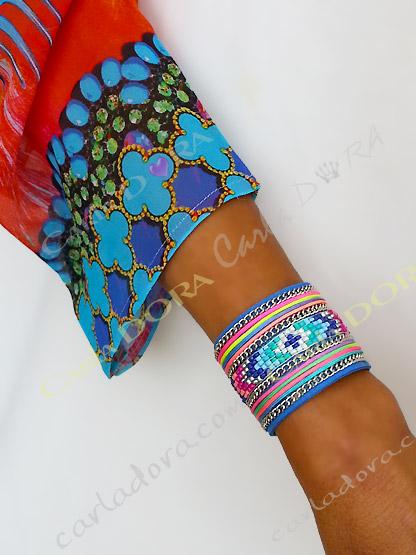 bracelet bresilien bleu femme hippie chic, bracelet fantaisie femme