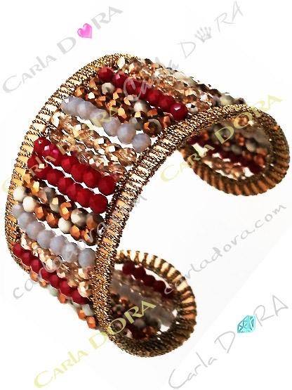 bracelet manchette rouge perles cristal irise