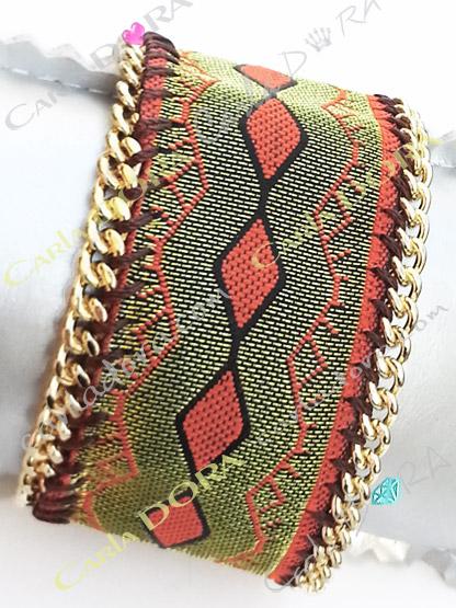 bracelet femme motif ethnique vert kaki mordore borde d