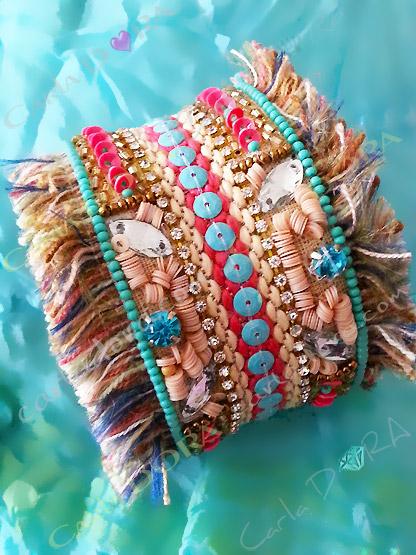 bracelet manchette turquoise multi matieres, manchette bracelet rigide ouvert bleu turquoise