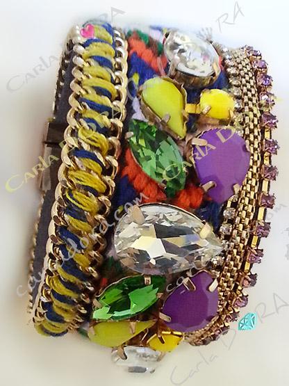 bracelet cabochon violet jaune vert strass couleur parme, bracelet fermoir aimante