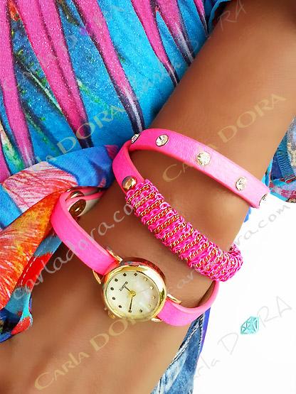 montre fantaisie rose fluo 3 tour clous et strass, montre fantaisie strass pour femme