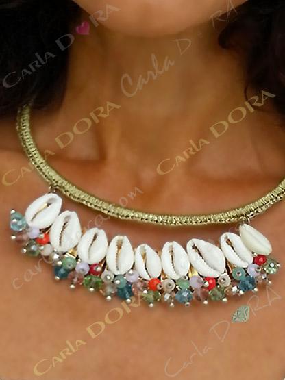 collier femme coquillages ras de cou pampilles perles cristal, bijou fantaisie femme coquillages