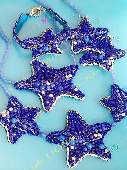collier ras du cou etoile de mer bleu roi blanc, collier etoile de mer