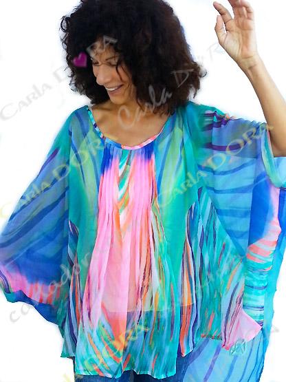 tunique femme fluide grande taille multicolore, top femme tunique plage grande taille a la mode