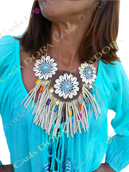 collier femme coquillages et franges  - bijou fantaisie femme