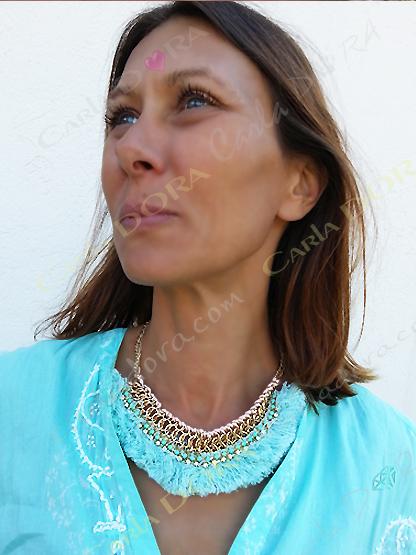 collier ras du cou hippie chic, bijou femme hippie chic strass chaine pompon