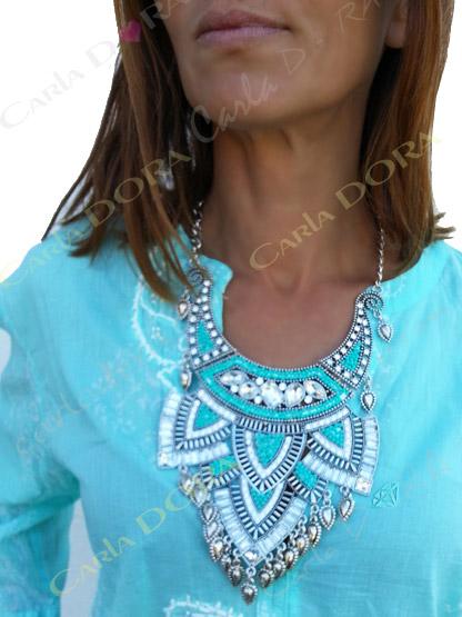 collier plastron bleu turquoise femme chic, collier fantaisie plastron metal argent ultra chic