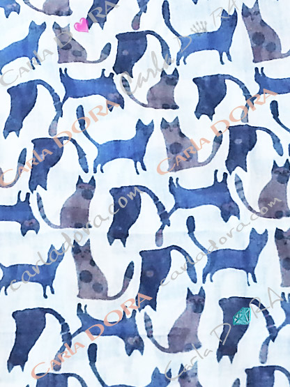 foulard chat bleu chat gris echarpe petit chat