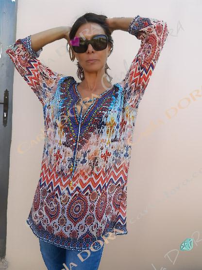 tunique femme droite voile motif col v, tunique femme fluide fashion rouge