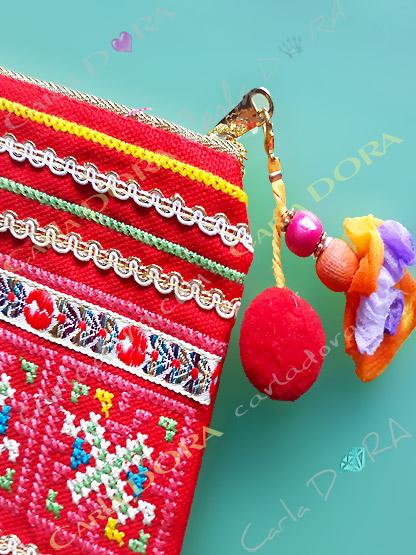 pochette femme  brodee multicolore rubans pompon, petite pochette pour femme mode