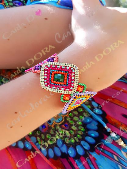 bracelet multicolore fantaisie femme hippie chic, bracelet fantaisie femme