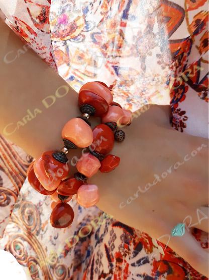 bracelet femme boheme chic elastique a perles couleur rouille orange,bracelet tendance femme