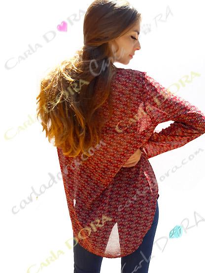 tunique femme fluide rouge imprimee, top femme tunique voile fluide imprimee