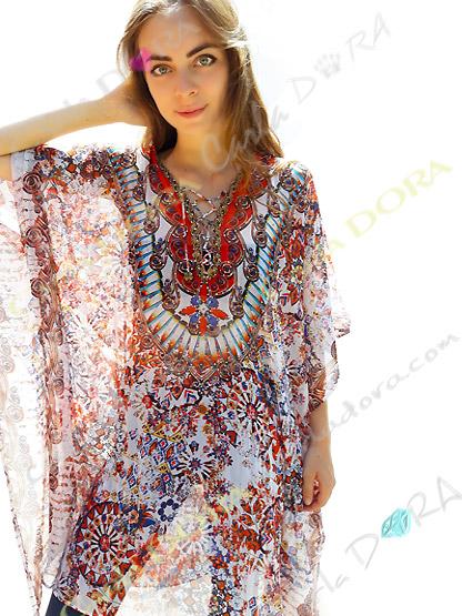 caftan long femme imprime couleurs marrachech, tunique longue pour femme tendance