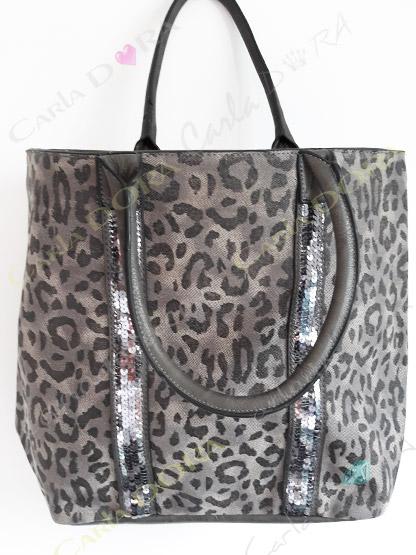 sac main femme panthere et paillettes sac shopping porte epaule gris