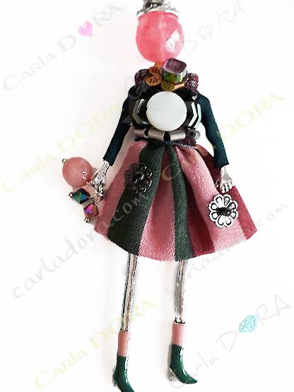 sautoir poupee multicolore charms fashion rose tendre camaieu, collier poupee fantaisie femme