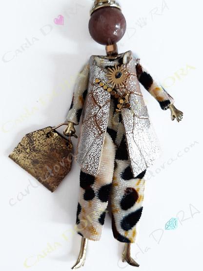 collier sautoir poupee pantalon panthere veste , collier fantaisie femme combinaison pantalon leopard