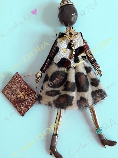 sautoir poupee robe veste panthere, collier fantaisie femme robe leopard