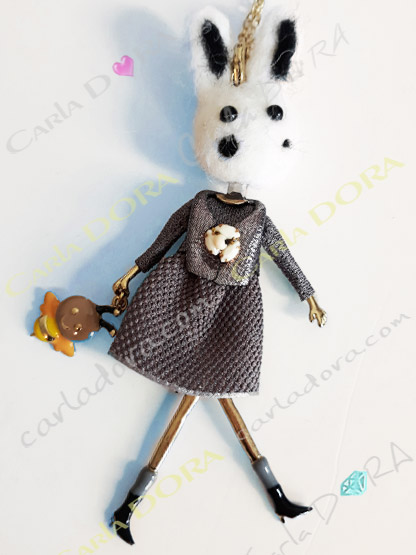 collier fantaisie charm lapin mignon fashion, collier sautoir lapin a la mode