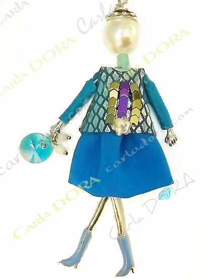collier fantaisie charm poupee sautoir bleu fashion, collier sautoir poupee a la mode