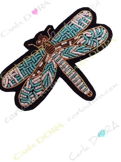 broche fantaisie libellule bleu turquoise tissu brode, broche bijou libellule