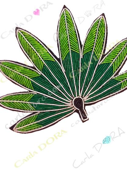 broche fantaisie feuille de palme tissu brode, broche bijou feuille de palmier verte