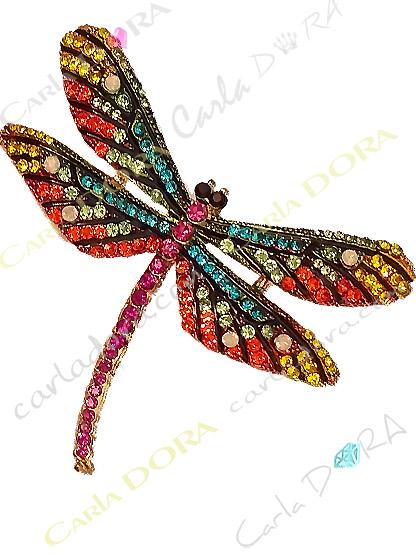 broche libellule cristal multicolore