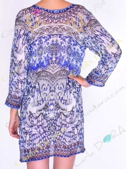 tunique femme voile droite motif bleu nuit col v cordons fendu cote, top femme col v tunique plage a la mode bleu nuit