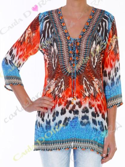 tunique femme voile tunique femme voile panthere corail et turquoise, top femme panthere multicolores a la mode