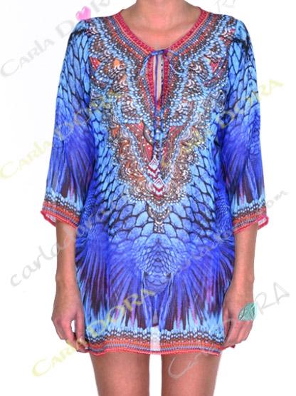 tunique femme fluide motif bleu roi et turquoise, top femme col v tunique plage a la mode bleu nuit