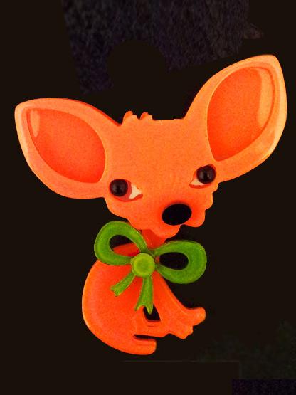 broche chien chiwawa fluo en plexiglas bijoux fantaisie femme