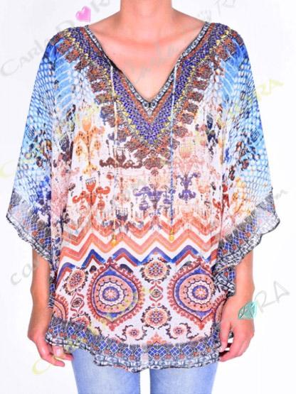 tunique femme voile motif bleu bas arrondi, top femme tunique plage a la mode
