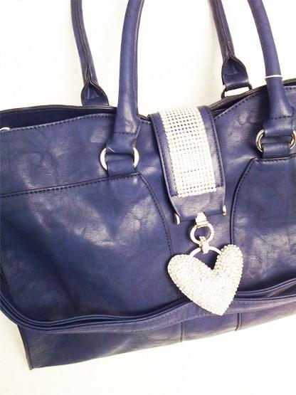 sac a main femme bleu jean boucle coeur strass blancs, sac a main femme mode